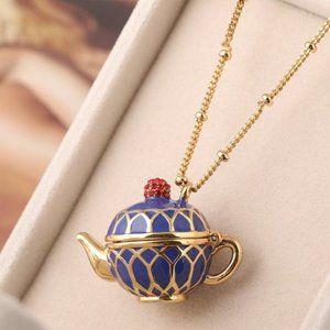 Kate Spade Blue Teapot Necklace